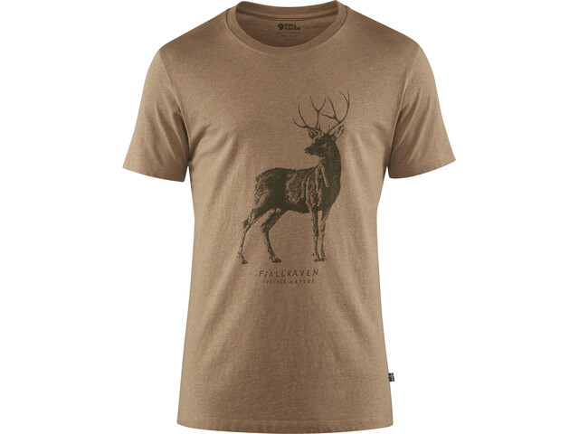 Fjällräven Deer Print Camiseta Hombre, dark sand